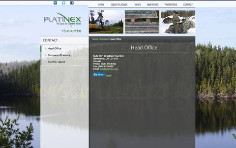 Screenshot of Contact Page platinex.com - Head Office « Platinex Inc. - captured Jan. 29, 2016
