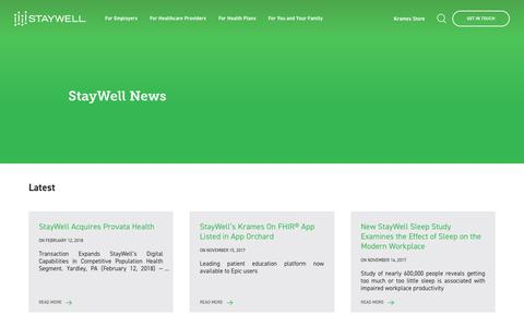 Screenshot of Press Page staywell.com - StayWell News - captured Feb. 15, 2018