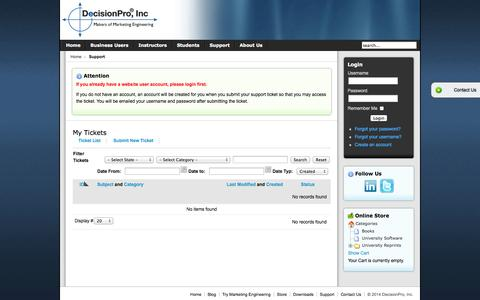 Screenshot of Support Page decisionpro.biz - DecisionPro, Inc - Support   DecisionPro Inc - captured Oct. 5, 2014