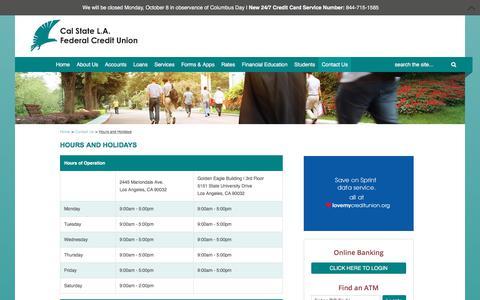 Screenshot of Hours Page calstatela-fcu.org - Hours and Holidays - captured Sept. 26, 2018