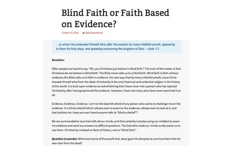 Screenshot of Landing Page djameskennedy.org - Blind Faith or Faith Based on Evidence? | D. James Kennedy Ministries - captured May 3, 2016