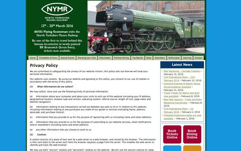 Screenshot of Privacy Page nymr.co.uk - Privacy Policy | North Yorkshire Moors Railway :: A steam train adventure through the stunning Yorkshire Moors - captured Feb. 16, 2016