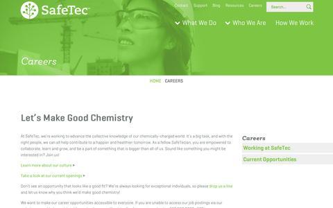 Screenshot of Jobs Page safetec.net captured Sept. 17, 2014