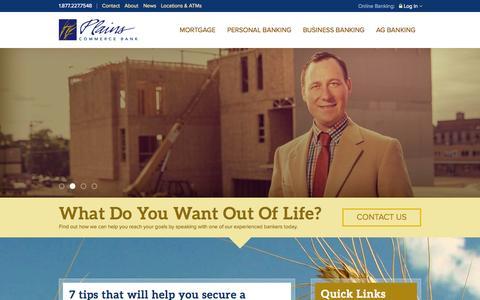 Screenshot of Home Page plainscommerce.com - Plains Commerce Bank - captured June 19, 2015