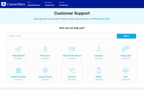 Screenshot of Contact Page FAQ Page coursehero.com - Customer Support - Course Hero - captured April 27, 2019