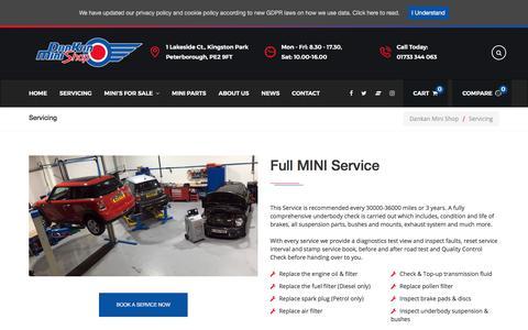 Screenshot of Services Page dankanminishop.co.uk - MINI Service in Peterborough | Specialist Servicing | Dankan Mini Shop - captured Aug. 5, 2018
