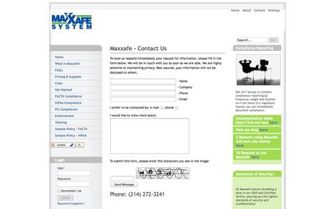 Screenshot of Contact Page Site Map Page maxxafe.com - Maxxafe System contact us - captured Oct. 27, 2014