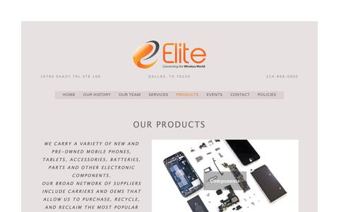 Screenshot of Products Page elitecell.com - Products — Elite Cellular - captured Sept. 27, 2018
