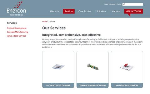 Screenshot of Services Page enercontechnologies.com - Integrated Product Development and Contract Manufacturing Services | Enercon Technologies - captured July 14, 2016