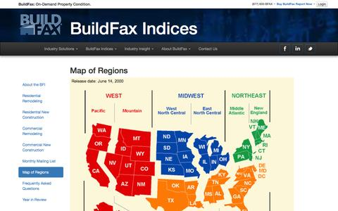 Screenshot of Maps & Directions Page buildfax.com - BuildFax Property Condition - BuildFax Indices - Map of Regions - captured Dec. 4, 2015