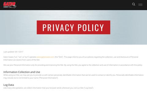 Screenshot of Privacy Page gatorcases.com - Privacy Policy - Gator Cases - captured July 1, 2017