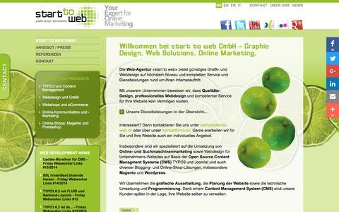 Screenshot of Home Page start-to-web.ch - Webagentur und TYPO3 - Webdesign und Online Marketing: start to web GmbH - captured Dec. 2, 2016