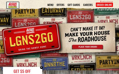 Screenshot of Home Page logansroadhouse.com - Steaks. Ribs. Spirits. Logan's Roadhouse - captured Sept. 27, 2018