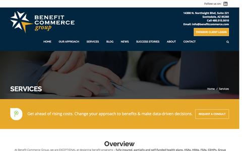 Screenshot of Services Page benefitcommerce.com - Services – Benefit Commerce Group - captured Feb. 19, 2017