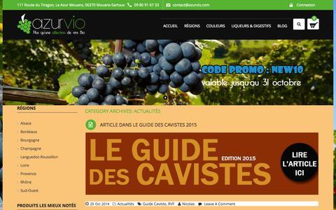 Screenshot of Blog azurvio.com - Actualités Archives - Azurvio - captured Oct. 29, 2014