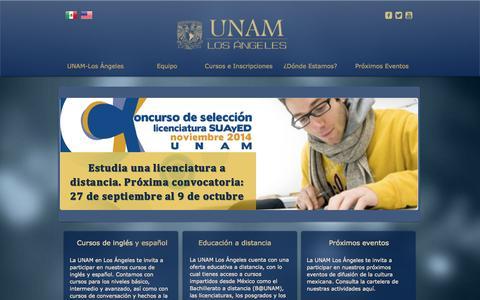 Screenshot of Home Page unamla.org - UNAM USA Los Ángeles - captured Oct. 3, 2014