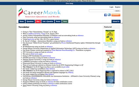 Screenshot of Press Page careermonk.com - Newsletter - CareerMonk Publications - Interview Questions | Books - captured Sept. 23, 2014