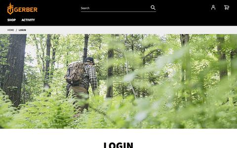 Screenshot of Login Page gerbergear.com - Login - captured Nov. 5, 2019