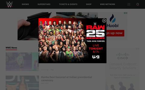 Screenshot of Press Page wwe.com - WWE News | WWE - captured Jan. 22, 2018