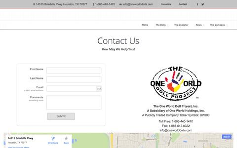 Screenshot of Contact Page oneworlddolls.com - The One World Doll Project, Inc. |   Contact - captured Sept. 17, 2014