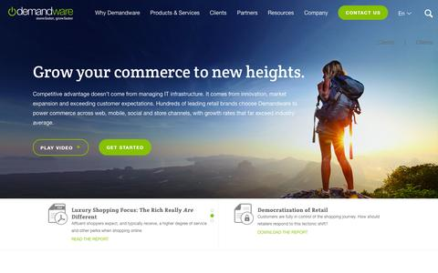 Screenshot of Home Page demandware.com - eCommerce Software Platform | Demandware - captured Nov. 24, 2015