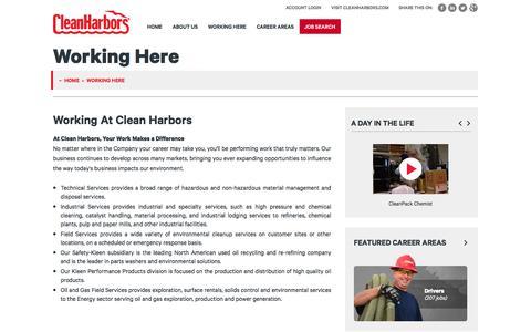 Screenshot of Jobs Page cleanharbors.com - Working Here | Careers at Clean Harbors - captured April 27, 2017