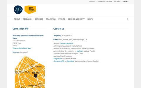 Screenshot of Contact Page iscpif.fr - Contact – Institut des Systèmes Complexes de Paris Île-de-France - captured Oct. 12, 2018