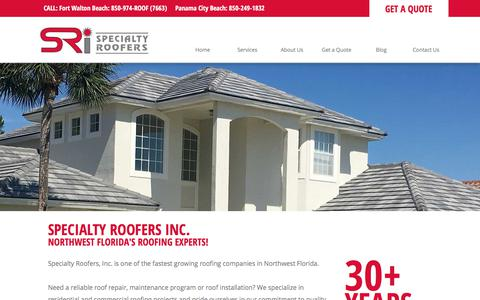 Screenshot of Home Page specialtyroofers.com - Roofing Contractor - Destin, Panama City Beach, Fort Walton - Specialty Roofers Inc. - captured Nov. 4, 2017