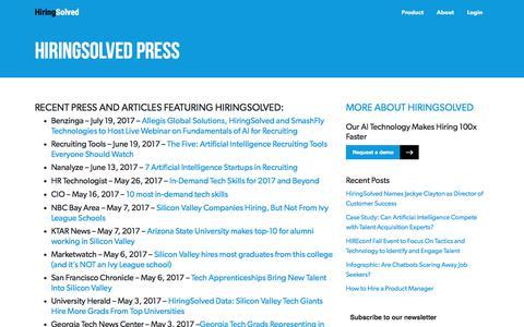 Screenshot of Press Page hiringsolved.com - HiringSolved Press - HiringSolved - captured June 5, 2018