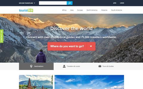 Screenshot of Home Page touristlink.com - Travelers Social Network - Touristlink - captured April 24, 2018