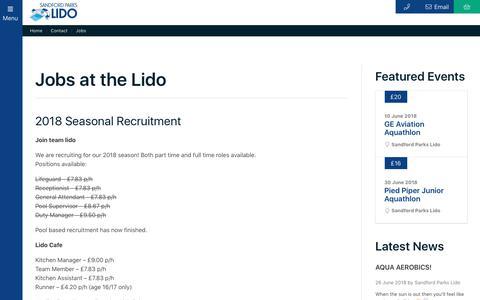 Screenshot of Jobs Page sandfordparkslido.org.uk - Jobs - Sandford Parks Lido - captured July 27, 2018