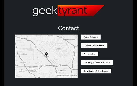 Screenshot of Contact Page geektyrant.com - Contact — GeekTyrant - captured Sept. 18, 2014