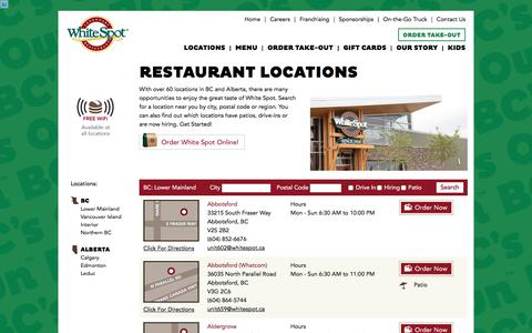 Screenshot of Locations Page whitespot.ca - Restaurant Locations   White Spot - captured Aug. 20, 2019