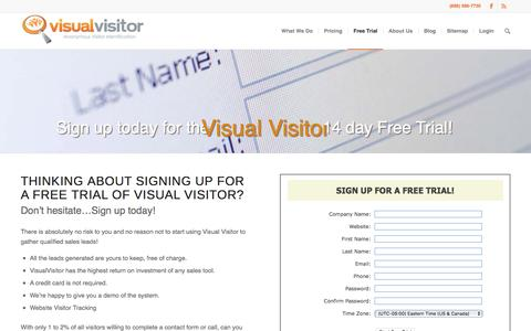 Screenshot of Signup Page Trial Page visualvisitor.com - Free Trial | VisualVisitor Virtual Visitor - captured Feb. 18, 2016