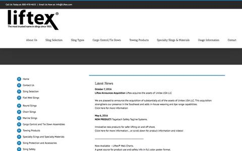 Screenshot of Home Page liftex.com - Liftex® The Most Trusted Name in Slings Since 1955 - captured Nov. 8, 2016