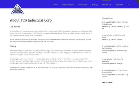 Screenshot of About Page tcbindustrial.com - Who We Are - TCB Industrial Corporation - captured Oct. 19, 2018