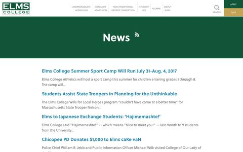 Screenshot of Press Page elms.edu - News - Elms College - captured July 30, 2017