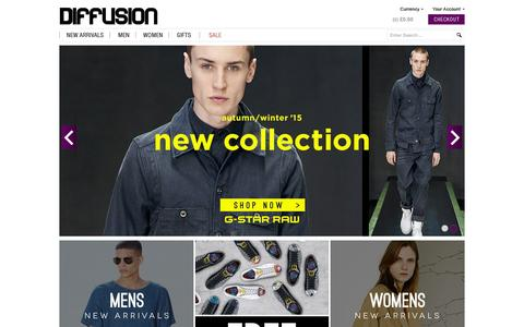Screenshot of Home Page diffusiononline.co.uk - Designer Clothing for Men & Women | Diffusion - captured Sept. 12, 2015