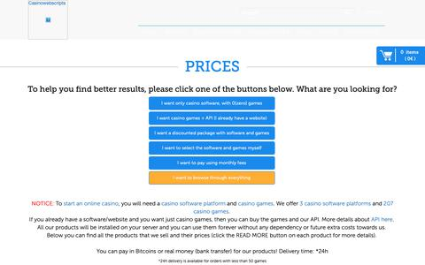 Screenshot of Pricing Page casinowebscripts.com - Casinowebscripts Prices for Turnkey Casino Solutions - captured Oct. 15, 2018