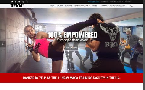 Screenshot of Home Page kravmagala.com - KRAV MAGA L.A. | REKM #TrainFightSurvive – Roy Elghanayan's Krav Maga Academy - captured Sept. 25, 2018