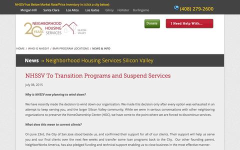 Screenshot of FAQ Page nhsnow.org - NHSSV To Transition Programs and Suspend Services — Neighborhood Housing Services Silicon Valley - captured Feb. 14, 2016