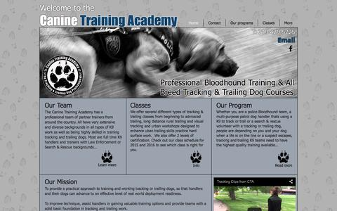 Screenshot of Home Page caninetrainingacademy.com - Canine Training Academy Professional Tracking & Man Trailing Courses - captured Jan. 25, 2016