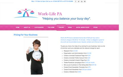 Screenshot of Pricing Page work-lifepa.co.uk - Pricing - Work-Life PA - captured Oct. 7, 2014