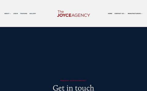 Screenshot of Contact Page thejoyceagency.com - Request Quote/Contact — The Joyce Agency - captured Oct. 18, 2018