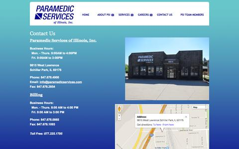 Screenshot of Contact Page Maps & Directions Page paramedicservices.com - PSI Ambulance - Contact Us - captured Oct. 22, 2014