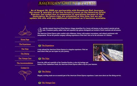 Screenshot of Home Page american-orient-express-train.com - American Orient Express - captured Oct. 10, 2015
