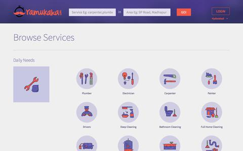 Screenshot of Services Page ramukaka.com - Household Services, Carpenters, Electricians, Plumbers, Painters, Caterers in Hyderabad-Ramukaka.com - captured June 26, 2017
