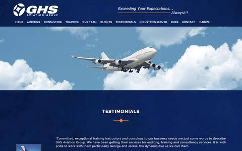 Screenshot of Testimonials Page ghsaviationgroup.aero - Aviation Safety | Testimonials | GHS Aviation Group - captured July 15, 2018