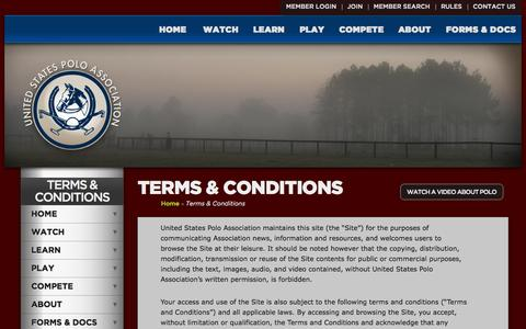 Screenshot of Terms Page uspolo.org - United States Polo Association - captured Oct. 27, 2014