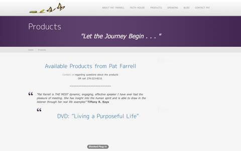 Screenshot of Products Page patfarrellcoach.com - Products | Pat Farrell - captured Jan. 26, 2016
